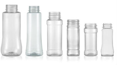 Spice bottles in PET or glass